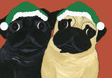 (HA38) Holiday Fawn and Black Pugs